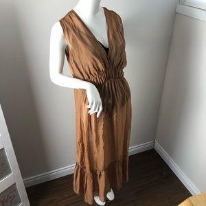 Boho Silk Blend Tiered Sheer Maxi Dress S